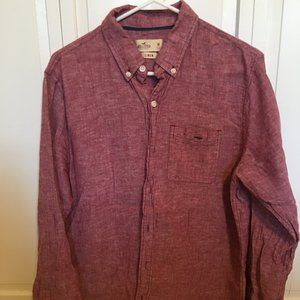 Men's Hollister red linen shirt